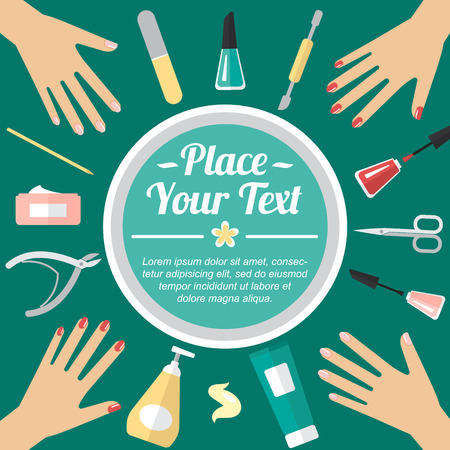 Vector manicure template for card, banner, poster with place for your text. Flat style.