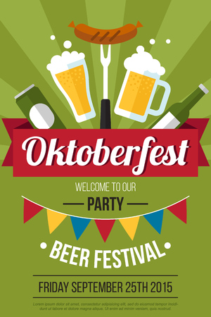 Colorful vector oktoberfest beer festival poster template. Flat style. Vettoriali