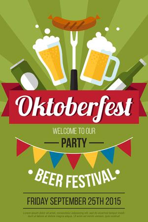 jarra de cerveza: Vector colorido oktoberfest plantilla del cartel fiesta de la cerveza. estilo plano.