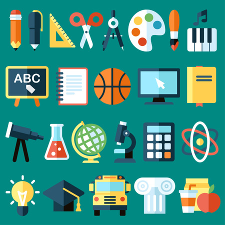 kid school: Big vector collection of colorful school icons. Flat style.