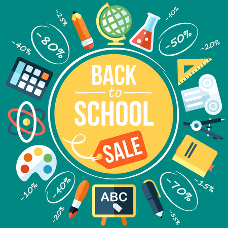 Colorful vector back to school sale poster template. Flat style. With hand drawn elements.