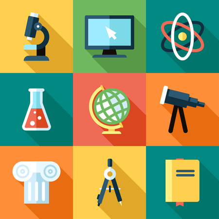 secondary schools: Vector collection of science icons. Flat style with long shadows.