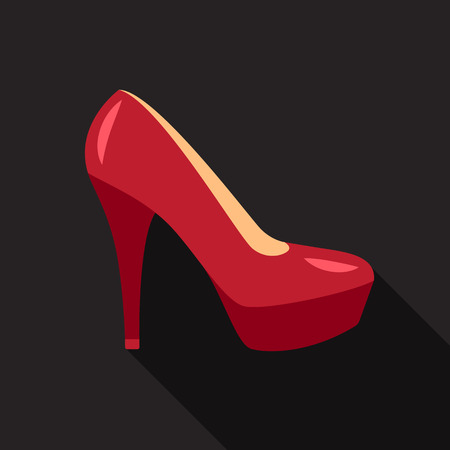 Icon of woman high heel shoe with long shadow on dark background. Flat style.