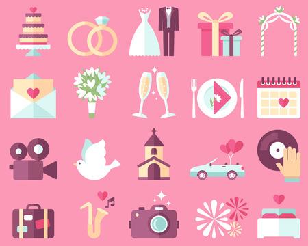 婚禮: 在粉紅色背景的婚禮圖標大矢量集合。扁平風格。