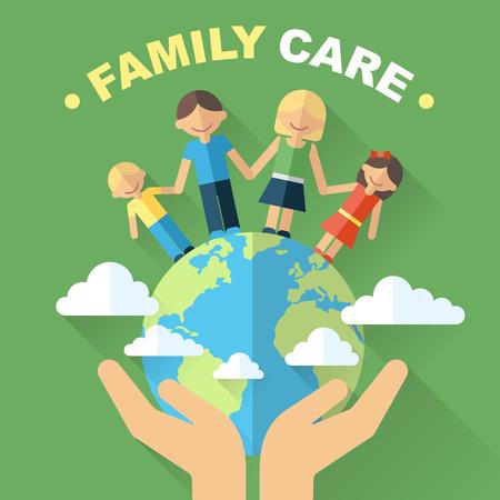 Concepto de protección y cuidado familiar y mundial. Ilustración de la familia feliz, de pie en el globo con las manos sosteniéndola cuidadosamente. Estilo plano