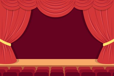 theater stage with red curtains and seats. Flat style.