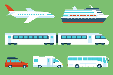 set of travel transportation: airplane, cruise liner, train, car, camping car, bus. Side view. Flat style.