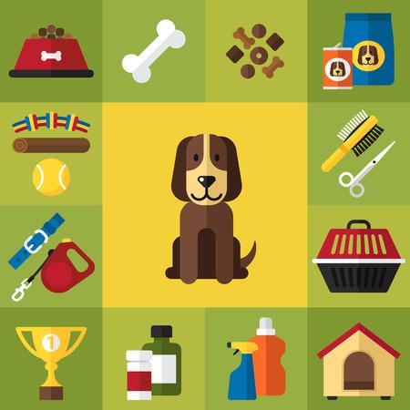 set of cute dog care icons. Flat style. 일러스트