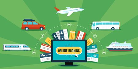 Tickets online booking concept. Various transportation and tickets around computer. Flat style. 일러스트