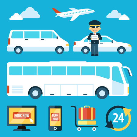 transfer: set of airport transportation service icons with chauffeur character. Flat style.