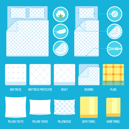 protector: set of bedding elements and towels with simple icons. Flat style.