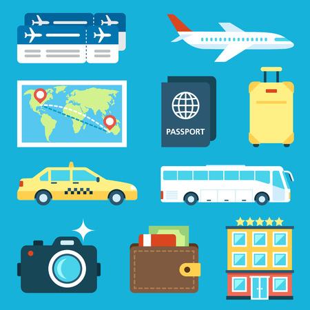 set of travel icons. Flat style. 일러스트