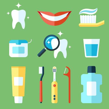 set of teeth care icons. Flat style. 일러스트