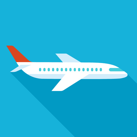 Vector airplane icon with long shadow. Flat style.
