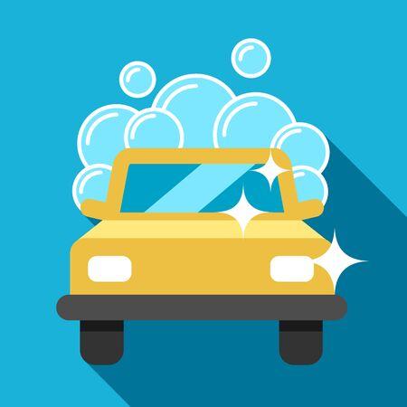car wash: Vector car wash icon, flat style.