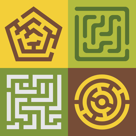 Set of vector colorful mazes. Different shapes and colors,