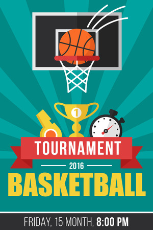 ad: Vector basketball tournament poster template. Flat style.
