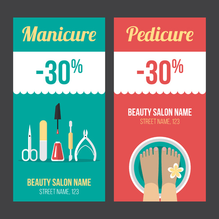 Vector manicure and pedicure discount flyer, voucher, coupon, poster or banner templates. Flat style.