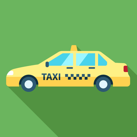 Vector taxi illustration with long shadow. Flat style. 일러스트