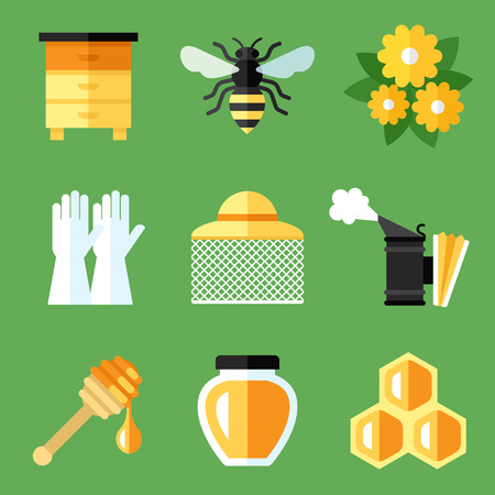 Vector set of beekeeping, apiary icons. Flat style. Eps 10.