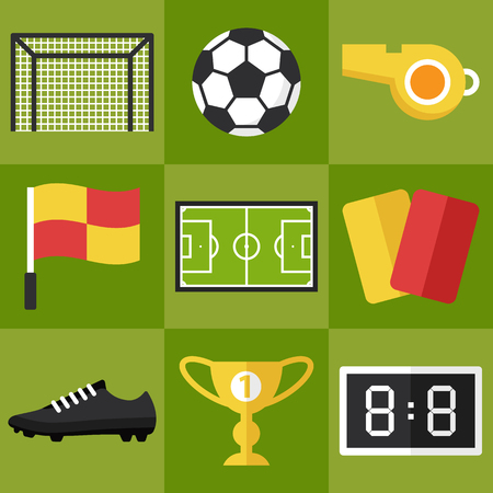 Vector set of football icons. Flat style.
