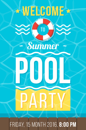 event party: Colorful vector poster, flyer or banner template for pool party. Flat style. Eps 10. Illustration