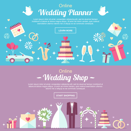 Vector header and banner design templates. For online wedding shop, wedding planner or other wedding services. Flat style. Vettoriali