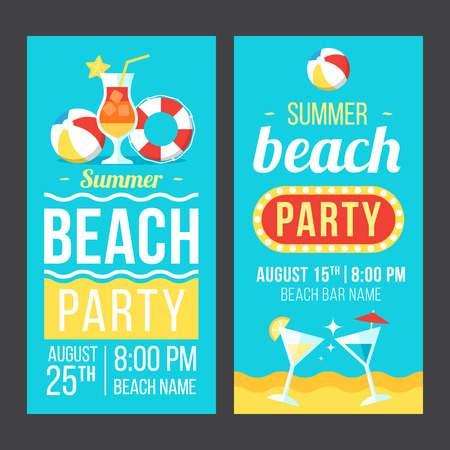 Colorful vector flyer, poster or banner templates for beach party. Flat style. Eps 10. 일러스트