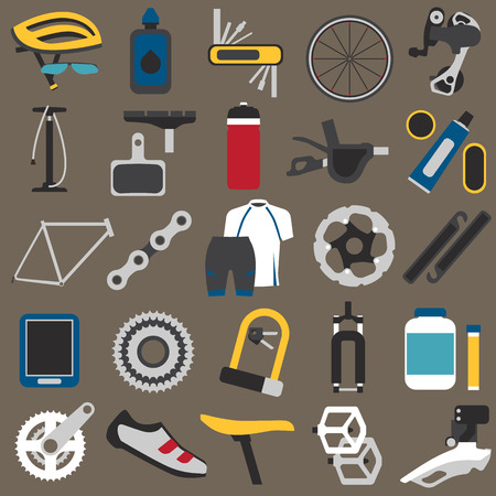 spoke: Big icons set of bicycle components, parts and accessories. Flat style, EPS 8. Illustration