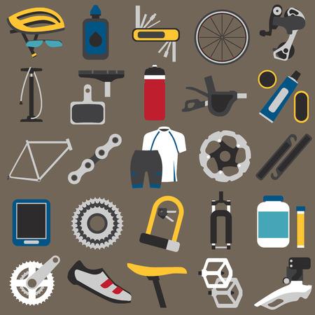 componentes: Grandes iconos conjunto de componentes de bicicletas, partes y accesorios. estilo plano, EPS 8.