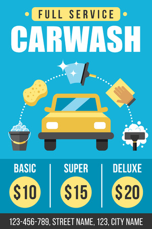 Colorful vector poster, flyer or banner template for carwash services. Flat style.