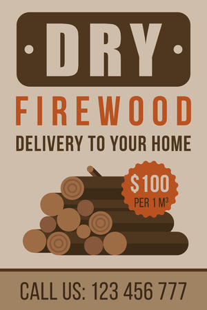Colorful vector poster, flyer or banner template for firewood delivery. Flat style.