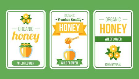 Vector set of honey label templates. Flat style. 일러스트