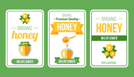 Vector set of honey label templates. Flat style. Ilustrace