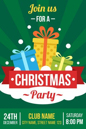 Colorful vector invitation, poster, banner of flyer template for Christmas party. Flat style.
