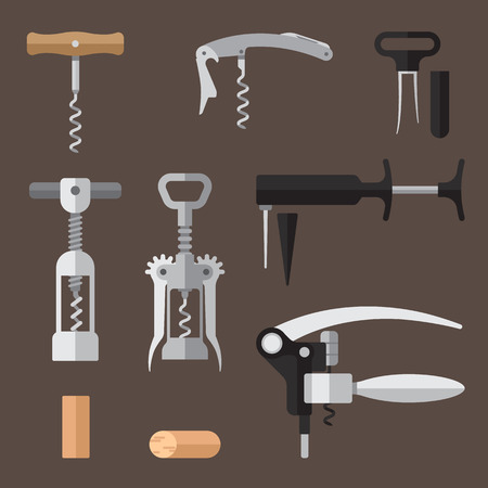 Vector set of different types of corkscrews (basic, sommelier knife, wing, twin prong puller, pump action, lever). Flat style.