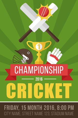 Colorful vector poster, banner or flyer template for cricket championship. Flat style.