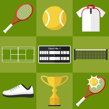Vector set of tennis icons in flat design style.