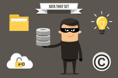 Vector thief with stolen data icons: folder, cloud storage, database, idea and copyright symbol. Each object can be placed in character's hand. Flat style.