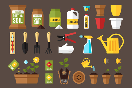 flowerpots: Vector set of indoor gardening icons: gardening tools, packages of soil, fertilizers, seeds, flowerpots, planting and growing process, care instruction symbols. Flat style.