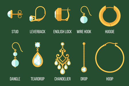 set of different earring styles and closure types. Flat style.