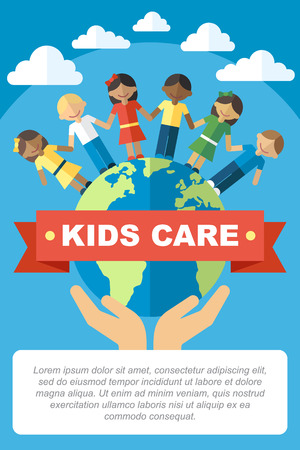 kids care and protection poster template. Happy kids standing on the globe. Flat style. 일러스트