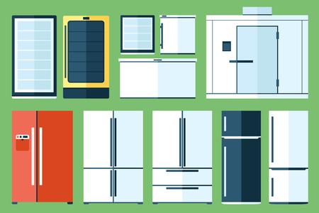 set of refrigerator types, flat style.