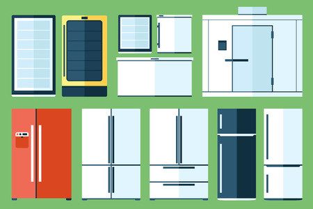 cooler: set of refrigerator types, flat style.