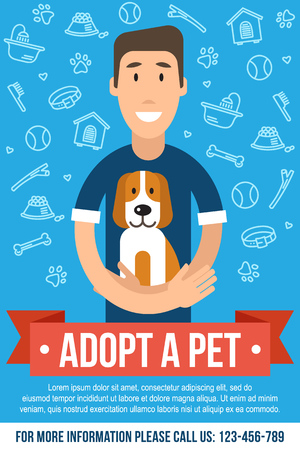 template for pet adoption poster. Happy man is hugging an adopted dog. Flat style. 일러스트