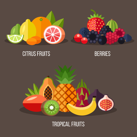 illustrations of different types of fruits: citrus fruits, berries, tropical fruits. Flat style. Ilustrace
