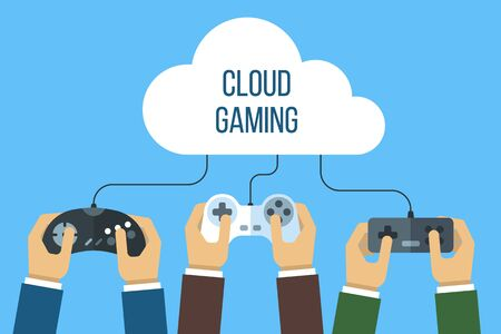 Cloud gaming concept. Hands holding joysticks connected to the cloud. Flat style.