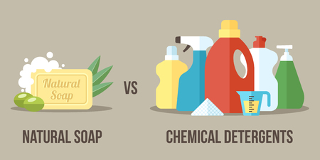 home products: Illustration of natural soap vs. chemical detergents. Healthy and natural household cleaning concept. Flat style.