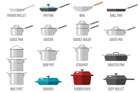 Vector set of kitchen pots and pans with lids. Flat style.