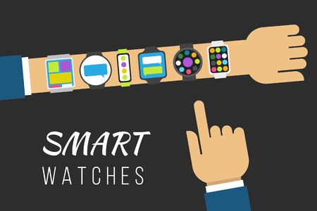 Variety of smart watches on a hand. Vector illustration concept, flat style. 일러스트
